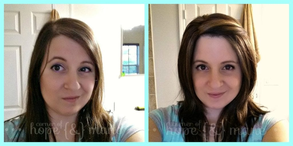 Women's Hair Topper Before and After