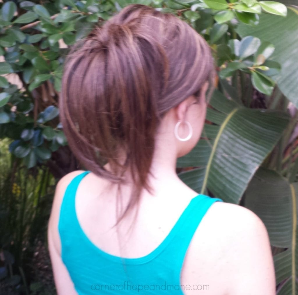 Hair topper in ponytail