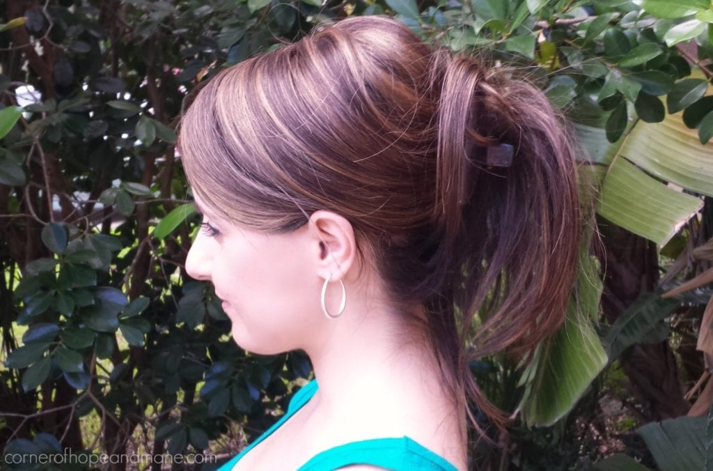 Hair topper in updo
